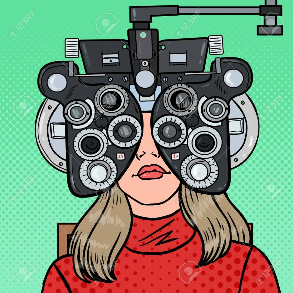 Pop Art Woman Patient at Optometric Clinic with Optical Phoropte